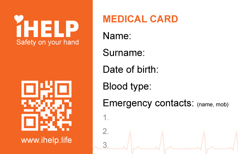 The iHELP health card contains data such as ICE contacts, allergies, medication and medical conditions.